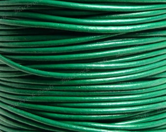 1.5mm Emerald Green Leather Cord - 3 Yards / 9 Feet / 2.74 Meters