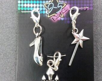 3 PC - Princess Wizard Theme Charm Set Silver Charm Pendant T0004