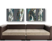 Extra LARGE wall art set Oversized Artwork dining room wall decor gray brown giclee Print canvas Tree trunks Landscape Office living bedroom