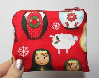 Coin purse, change purse, Christmas purse, nativity scene, sheep