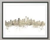 Seattle Skyline, Sheet Music Cityscape Art Print (1391)