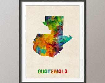 Guatemala Watercolor Map, Art Print (1333)