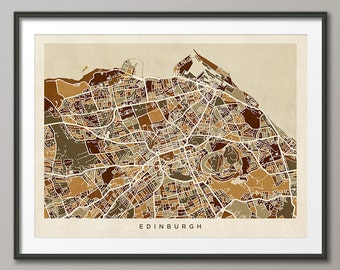 Edinburgh Map, Scotland, Edinburgh City Street Map Art Print (1349)