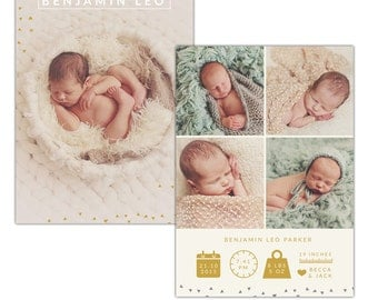 Birth announcement photoshop template - INSTANT DOWNLOAD - E1117