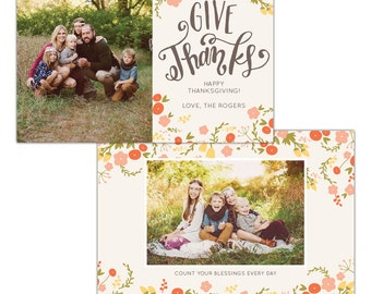 INSTANT DOWNLOAD - Thanksgiving Photo Card Photoshop template - E1148