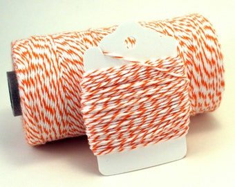 Orange Twine - Orange String - Orange Striped Twine - Basketball Favor String - Carrot Colored String - Orange and White Cotton String