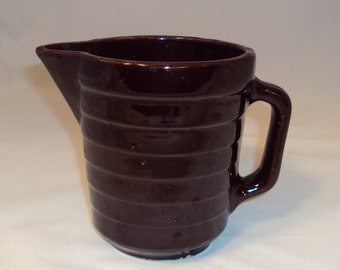 Vintage Western Stoneware Banded Milk Batter Pitcher Monmouth Pottery