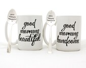 Stamped Spoon and Mug Set. Good Morning Beautiful, Good Morning Handsome. Couples gift idea by Milk & Honey.