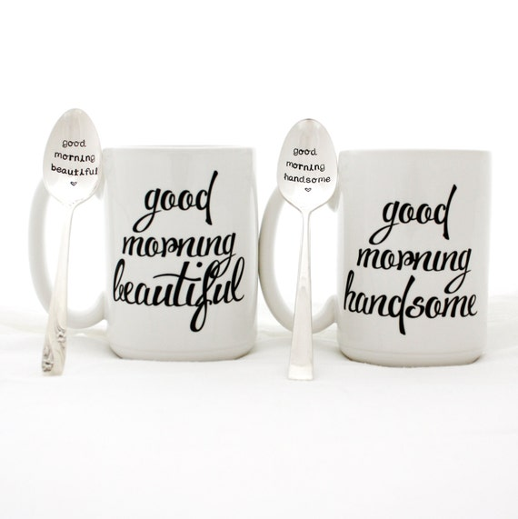 Stamped Spoon and Mug Set. Good Morning Beautiful, Good Morning Handsome. Couples gift idea by Milk & Honey. Made in USA.