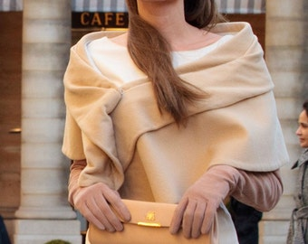 Angelina Jolie The Tourist inspired camel shawl wrap in wool velvet cashmere