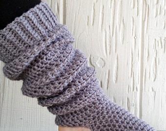 Handcrafted Extra Long Yoga Socks - Slouchy Leg Warmers - Gray - Acrylic Blend Yarn - Crocheted - Ticklebebe Original