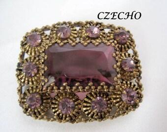 Amethyst  Brooch - Signed Czecho - Art Deco - Purple Rhinestone Pin