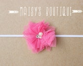 75% Off Hot Pink Beaded Tulle Flower Pink Headband/ Newborn Headband/ Baby Headband/ Flower Girl/ Wedding/ Photo Prop