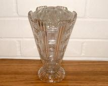 1930s Pressed Glass Art Deco Flower Vase Antique Vase Vintage Waffle Top Flower Frog Vintage Home Decor Vintage Housewares