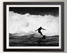 "Black and White Surfing Photography - Beach Art - Surf Decor - Dramatic Surfing Photo - "" Break Away """