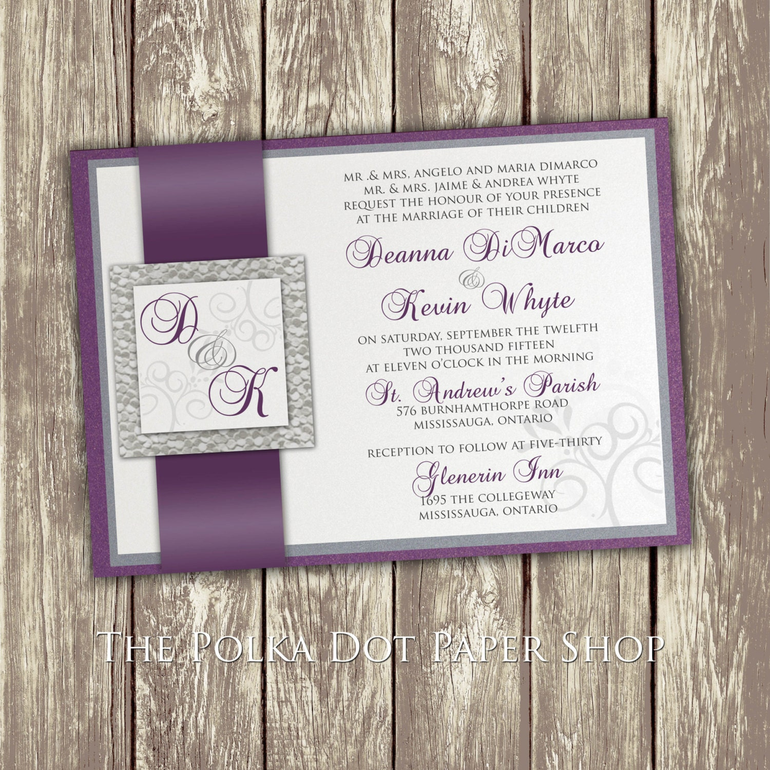 Silver Wedding Invitations: Wedding Invitation / Purple And Silver Invitation / Pebble