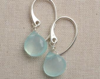 Aqua Blue Chalcedony Earrings, Blue Green Gemstone Earrings, Gemstone Sterling Silver Drop Earrings, Healing Gemstone Jewelry