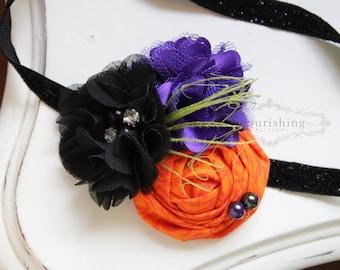 Halloween Headband headband, baby headbands, black and orange headbands, halloween headbands, green headbands, photography prop
