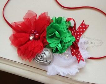 Christmas headband, holiday headbands, newborn headbands, red headbands, red and green headbands, photography prop