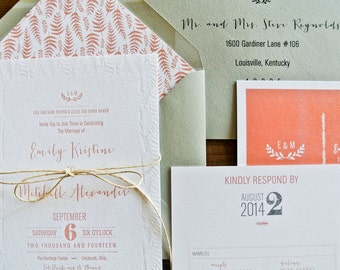 Letterpress Wedding Invitation: Floral and Ferns