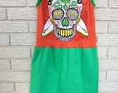 Girls size 8 Skull Dress. Surfer, sugar skull, orange, green, Dia de los Muertos.  Gifts under 50.