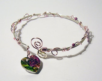 Princess Heart - Pink and Silver Wire Wrapped Bracelet