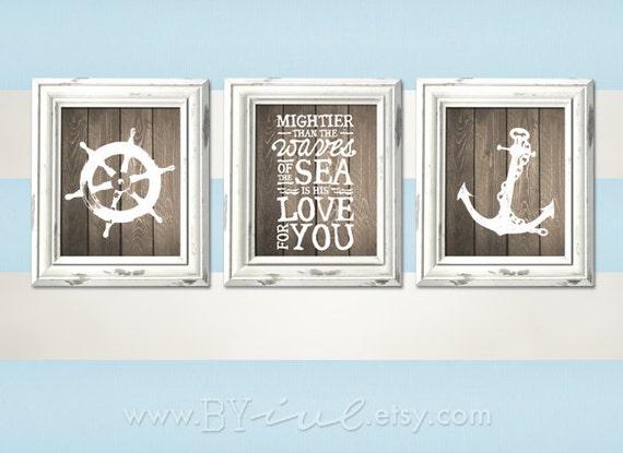 Nursery Nautical Theme Ship Wheel Psalm 93 4 Anchor Room