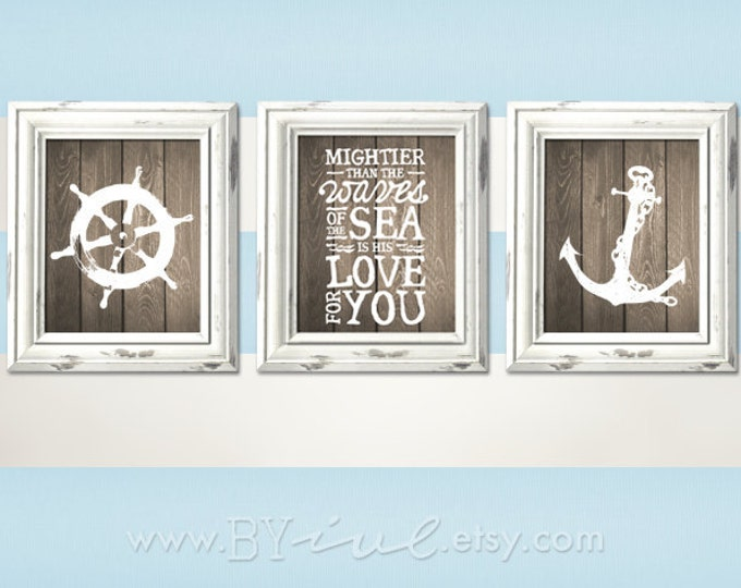 Nursery Nautical theme, Ship wheel, Psalm 93:4, Anchor, Room printable, Sailor Theme, Beach Decor, Downloadable. Print it yourself.