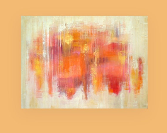 "RESERVED Art,Abstract Painting,Original Acrylic Art,Fine Art Painting,Acrylic on Canvas by Ora Birenbaum, Autumn Leaves 36X48X1.5"""