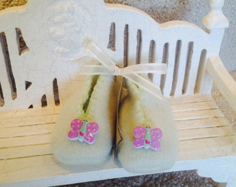 Mint Green Felted Wool Baby Booties with Butterfly Button for Trim,