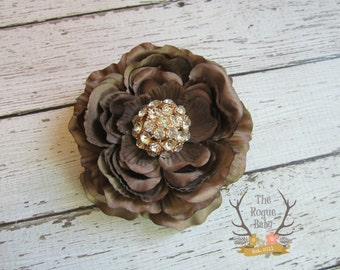 Brown Ranunculus Flower Hair Clip - Rose Gold & Rhinestone Center. Wedding Bridal Flower Girl Headband Toddlers Girls Women