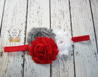 Red Gray and White Baby Headband - Newborn Infant Baby Toddler Girls Adult  Flower Head band