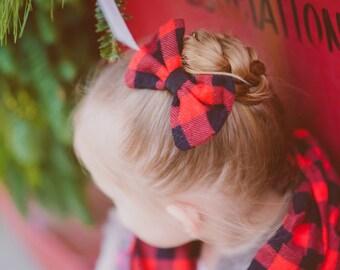 Buffalo Plaid Hair Bow - Red Black Flannel Fabric Hair Bow Clip