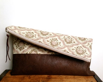 Fold over clutch, Light Pink Floral with Brown Faux Suede, Large Zipper Pouch, Mother's day gift