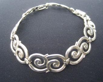 Sterling Silver Hinged Link Bracelet c 1980s