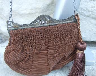 1930s Copper Brown Cut Velvet Evening Bag