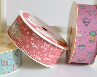 Vintage Ribbon. 3 Spools of wide Novelty Fabric Ribbon Old Stock, New on Roll, Craft, Fashion DIY. Pink Green Country Cottage Farmhouse