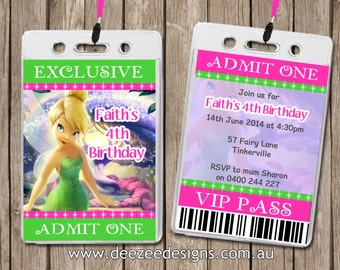 Personalised Tinkerbell VIP Lanyard Invitations x 10
