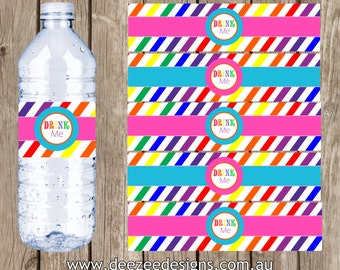 Rainbow Water Bottle Labels - You Print - INSTANT DOWNLOAD