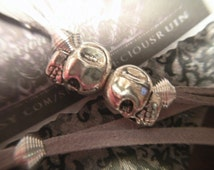 LOVE NEVER DIES Wish Bracelet - Wishlet - Antique Silver Plated Alloy Skull Beads on Grey Suede Entwined Cords - Valentine - PreciousRuin