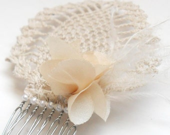 Great Gatsby Hairpiece, Vintage Peacock Art Deco Ivory Lace Hair Clip, romantic bridal hairpiece, Roaring 20s inspired Wedding Hair Comb,