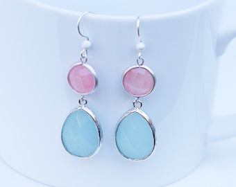 Pink and Green Chalcedony Earrings