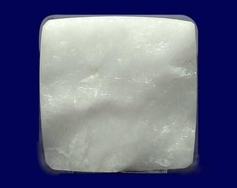 """Snowy Pure White Milky Quartz Stone Square Shape Cabochon Contour Surface """"Faux Druzy"""" Loose Unset Semiprecious Gem"""