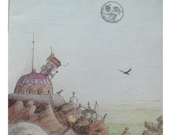 "Observation fantasy drawing 7"" x 5"" Print"