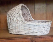 Wicker Doll Bassinet, White Vintage Chippy Paint