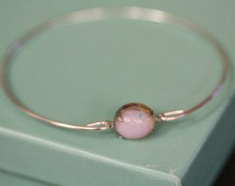 Pink Bangle, Pink Opal Stone, Silver Bangle, Gold Bangle, Stone Bangle,
