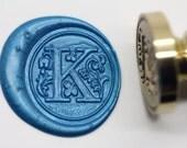 "S1153 Alphabet Letter "" K "" Wax Seal Stamp , Sealing wax stamp, wax stamp, sealing stamp Flower Sytle"