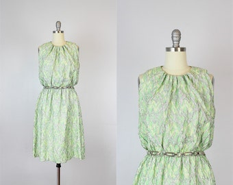 vintage 60s metallic party dress / 1960s metallic brocade dress / silver metallic dress / lime green dress / graphic metallic dress