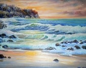 RESERVED for M, Rapture on The Pacific, Ocean Oil, Sunlight Glory, Pacific Northwest, Original Oil Painting, Oceanscape, Dan Leasure