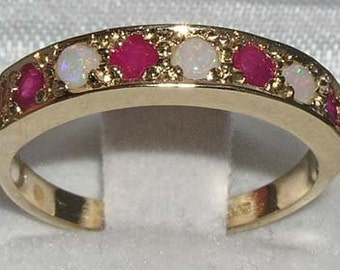 English 14K Yellow Gold Natural Opal & Ruby Half Eternity Anniversary Ring - October July birthstone -Customize:9K,14K,18K,Yellow,Rose,White